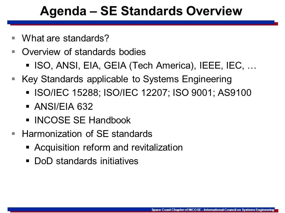 Agenda – SE Standards Overview