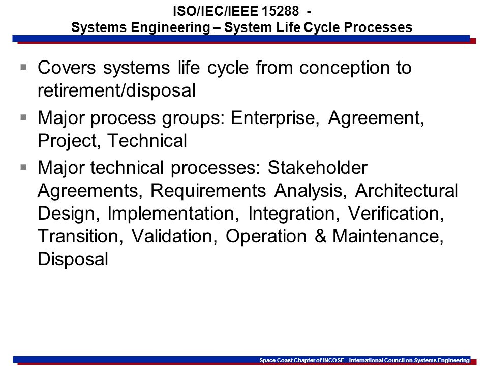 ISO/IEC/IEEE 15288 - Systems Engineering – System Life Cycle Processes