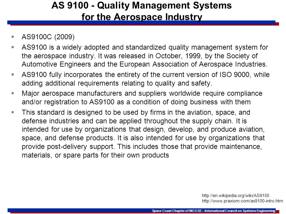 AS 9100 - Quality Management Systems for the Aerospace Industry