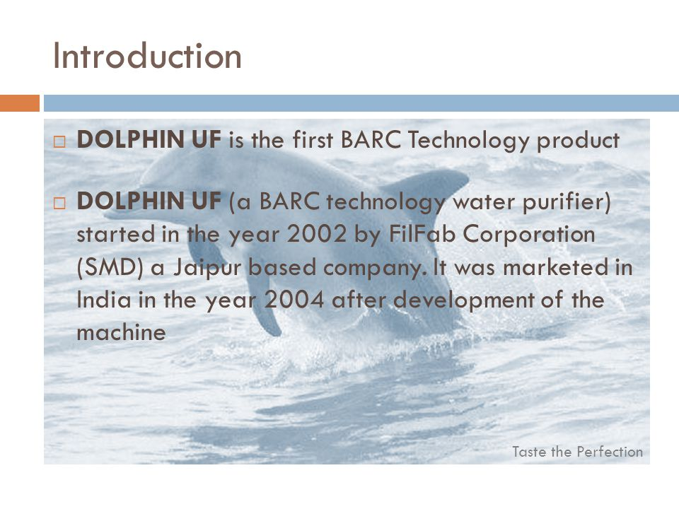 Introduction DOLPHIN UF is the first BARC Technology product