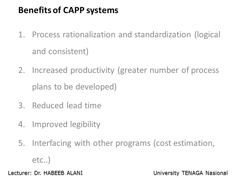Benefits of CAPP systems