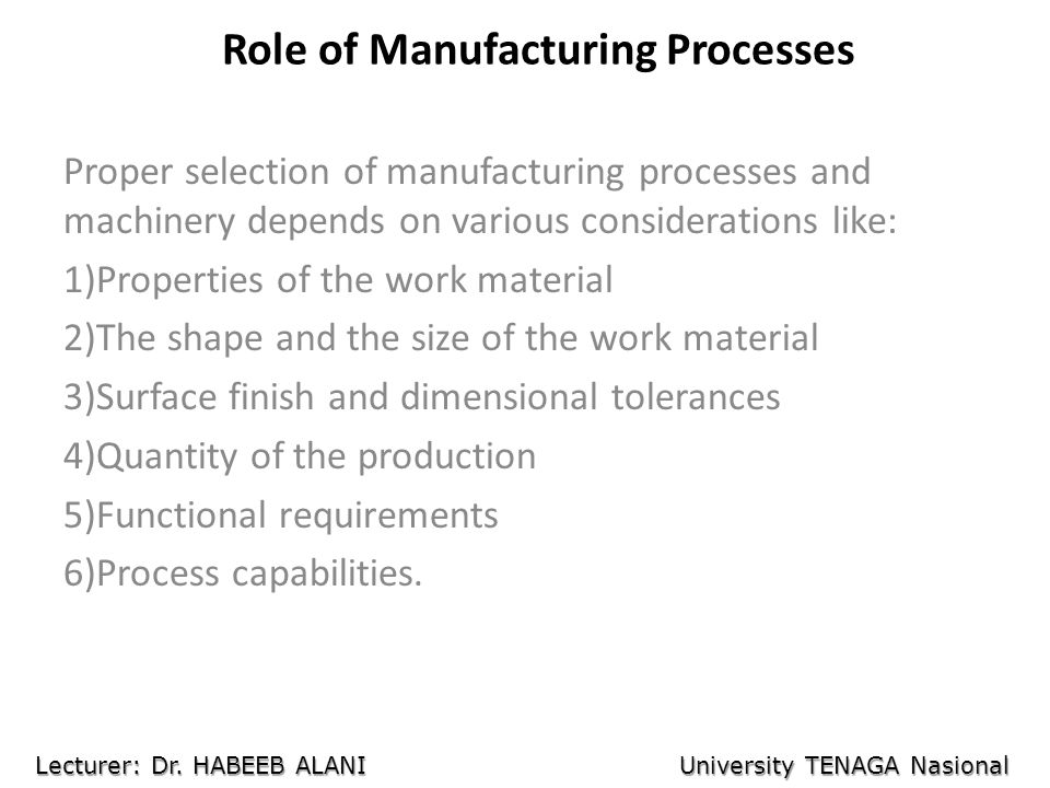 Role of Manufacturing Processes