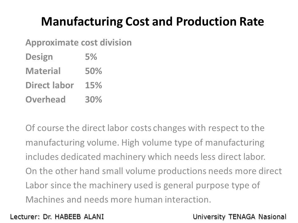 Manufacturing Cost and Production Rate