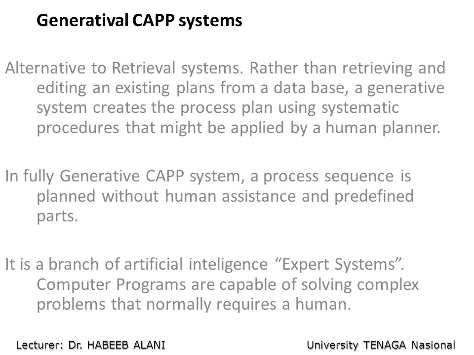 Generatival CAPP systems