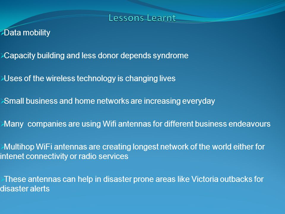 Lessons Learnt Data mobility