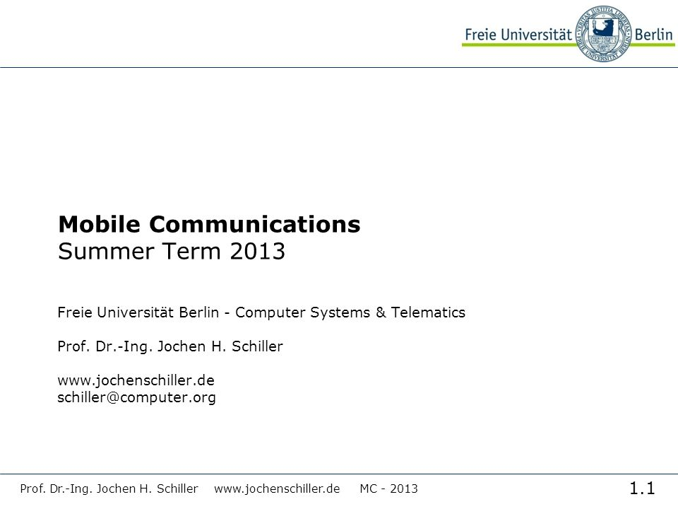 Mobile Communications Summer Term 2013
