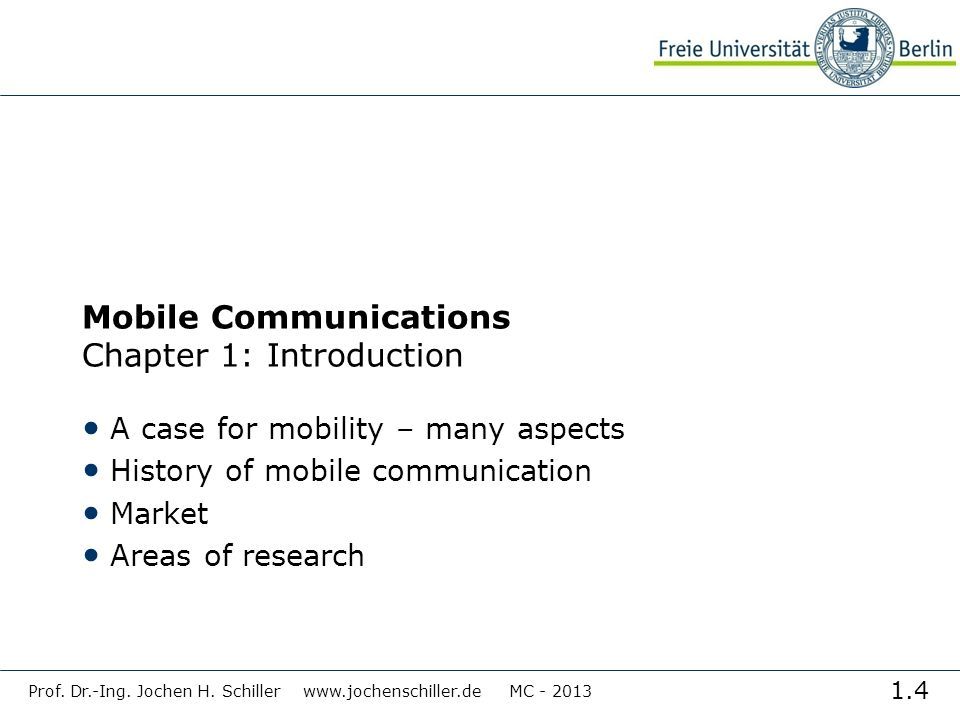 Mobile Communications Chapter 1: Introduction