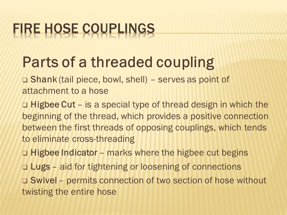 Parts of a threaded coupling