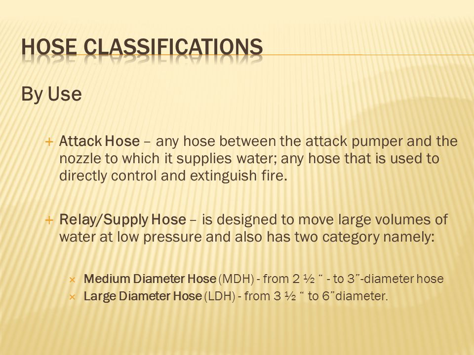 HOSE CLASSIFICATIONS By Use
