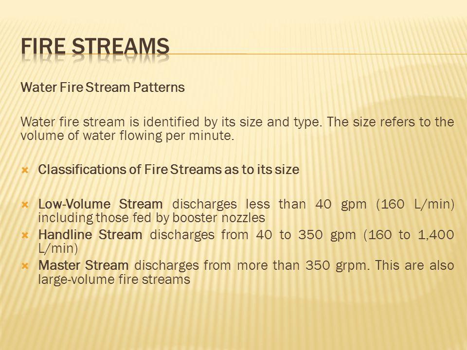 FIRE STREAMS Water Fire Stream Patterns