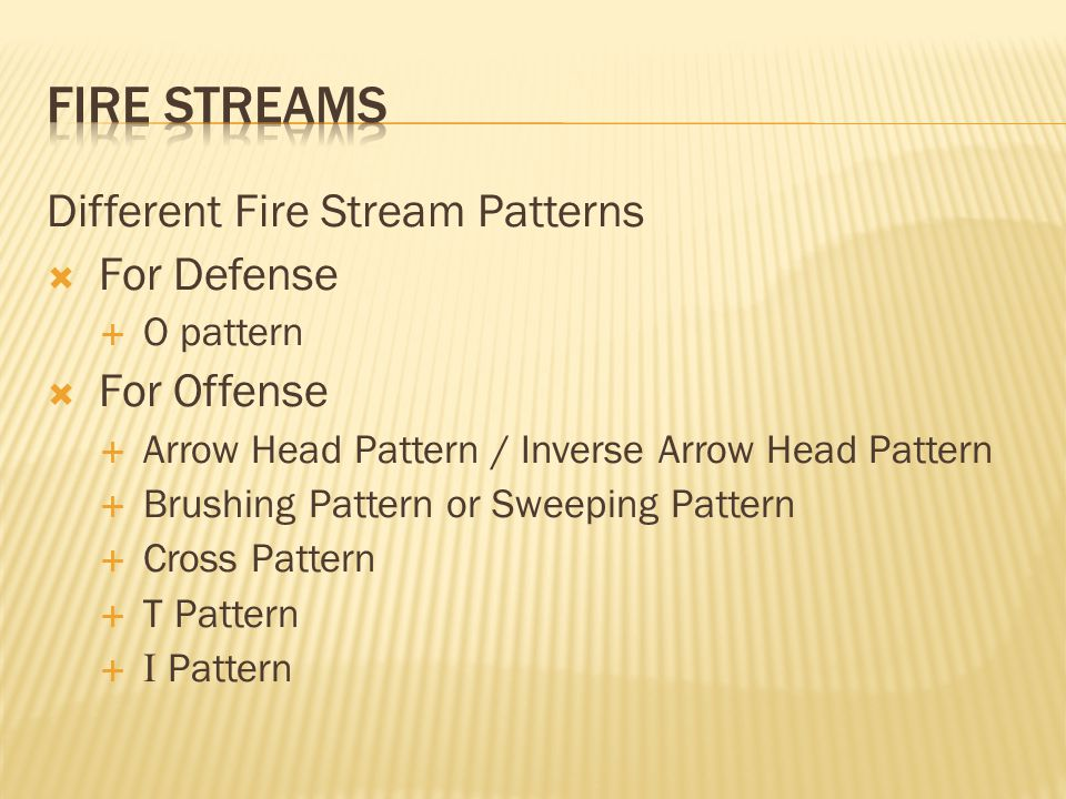 FIRE STREAMS Different Fire Stream Patterns For Defense For Offense