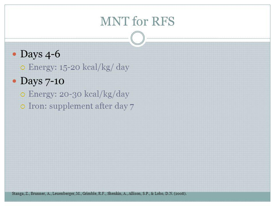 MNT for RFS Days 4-6 Days 7-10 Energy: 15-20 kcal/kg/ day