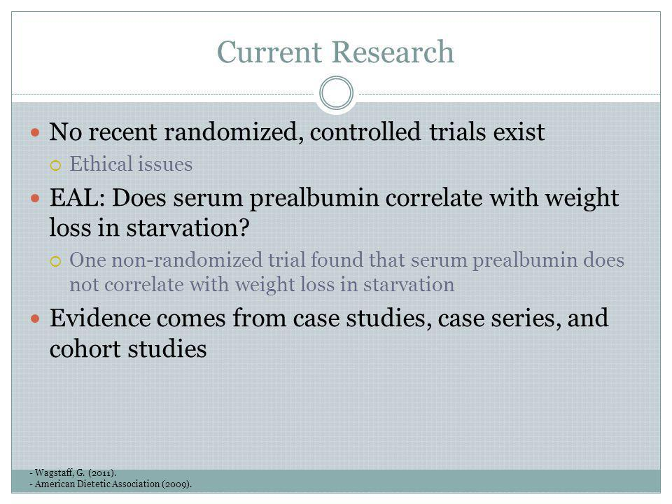 Current Research No recent randomized, controlled trials exist