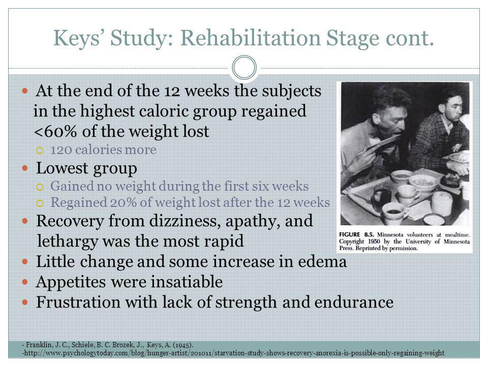 Keys' Study: Rehabilitation Stage cont.
