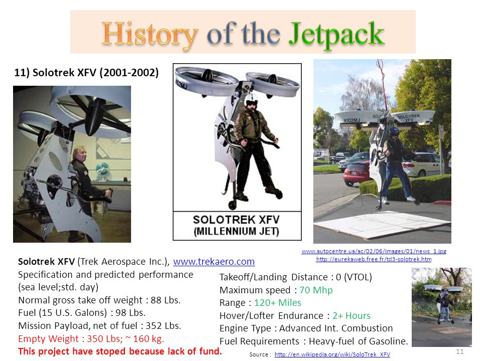 History of the Jetpack 11) Solotrek XFV (2001-2002)