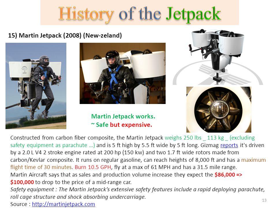 History of the Jetpack 15) Martin Jetpack (2008) (New-zeland)