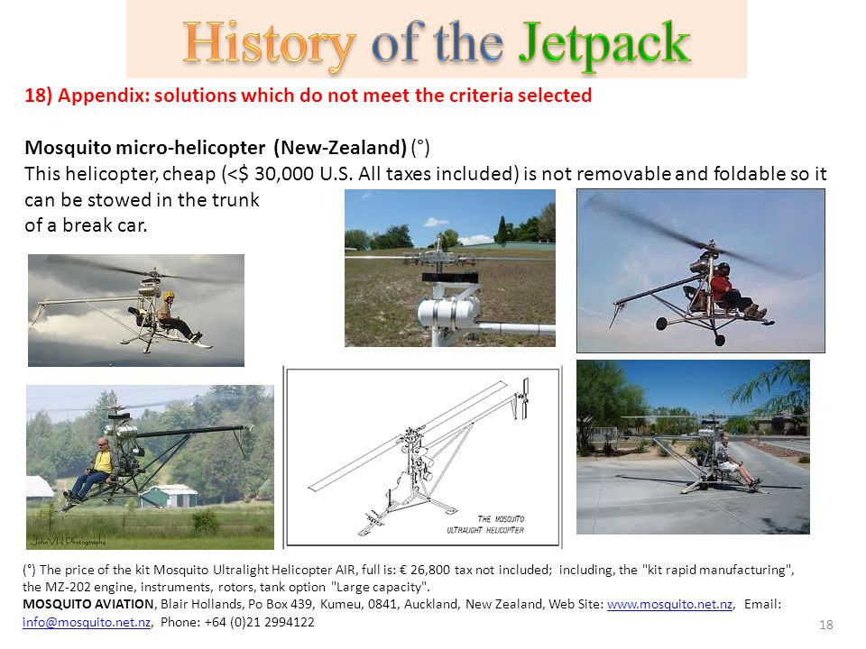 History of the Jetpack 18) Appendix: solutions which do not meet the criteria selected. Mosquito micro-helicopter (New-Zealand) (°)