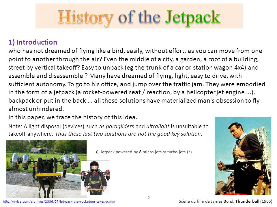 History of the Jetpack 1) Introduction