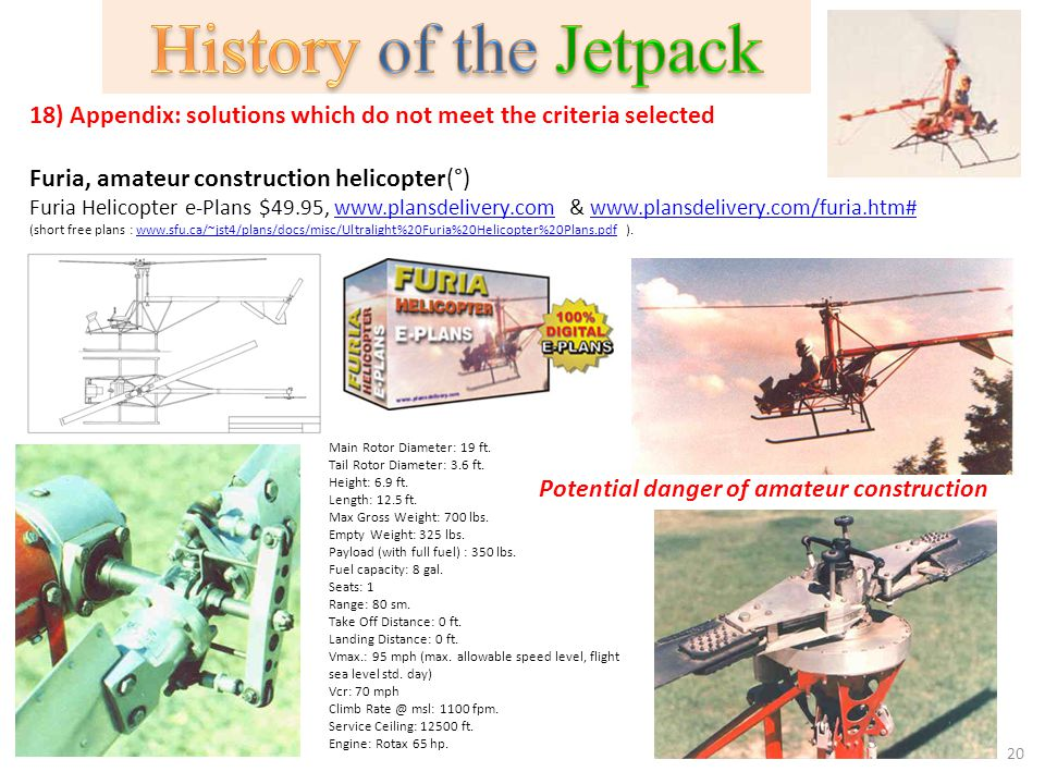History of the Jetpack 18) Appendix: solutions which do not meet the criteria selected. Furia, amateur construction helicopter(°)