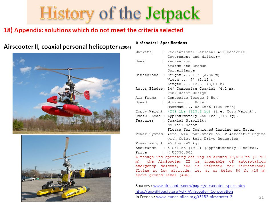 History of the Jetpack 18) Appendix: solutions which do not meet the criteria selected. Airscooter II, coaxial personal helicopter (2004)