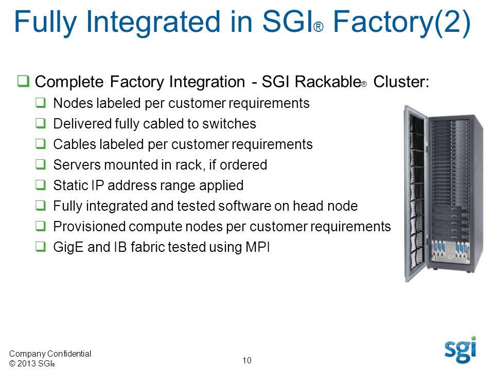 Fully Integrated in SGI® Factory(2)