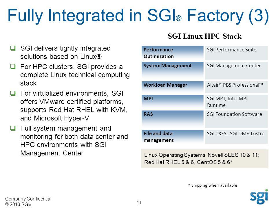 Fully Integrated in SGI® Factory (3)