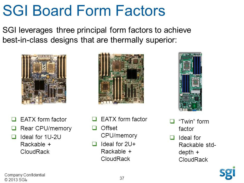 SGI Board Form Factors SGI leverages three principal form factors to achieve best-in-class designs that are thermally superior: