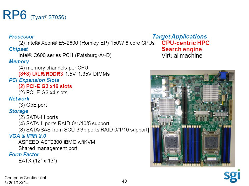 RP6 (Tyan® S7056) Target Applications CPU-centric HPC Search engine