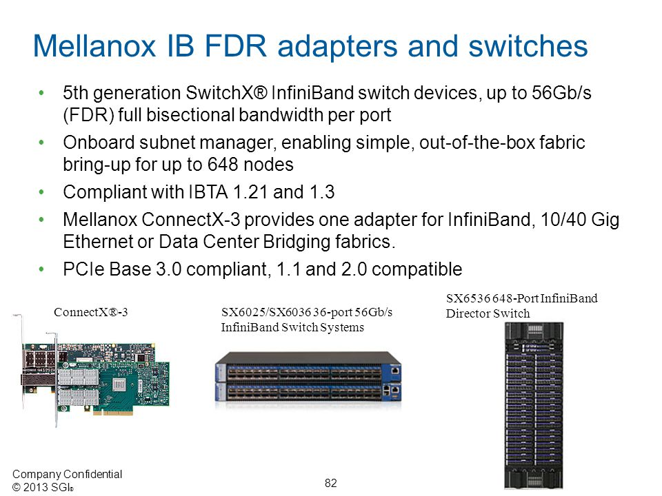 Mellanox IB FDR adapters and switches