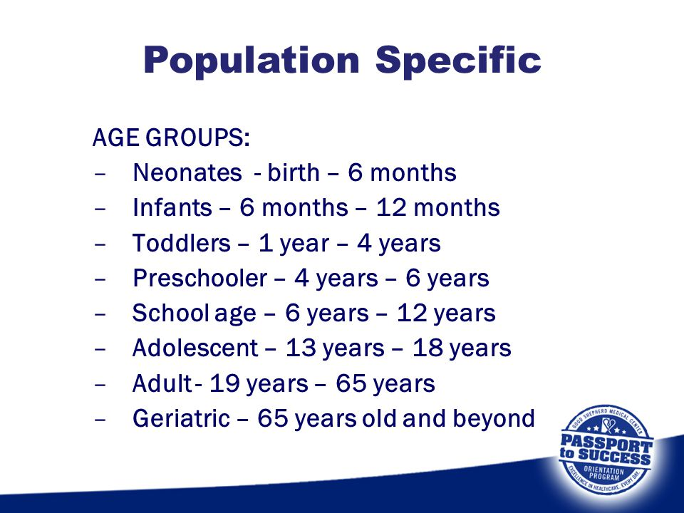 Population Specific AGE GROUPS: Neonates - birth – 6 months