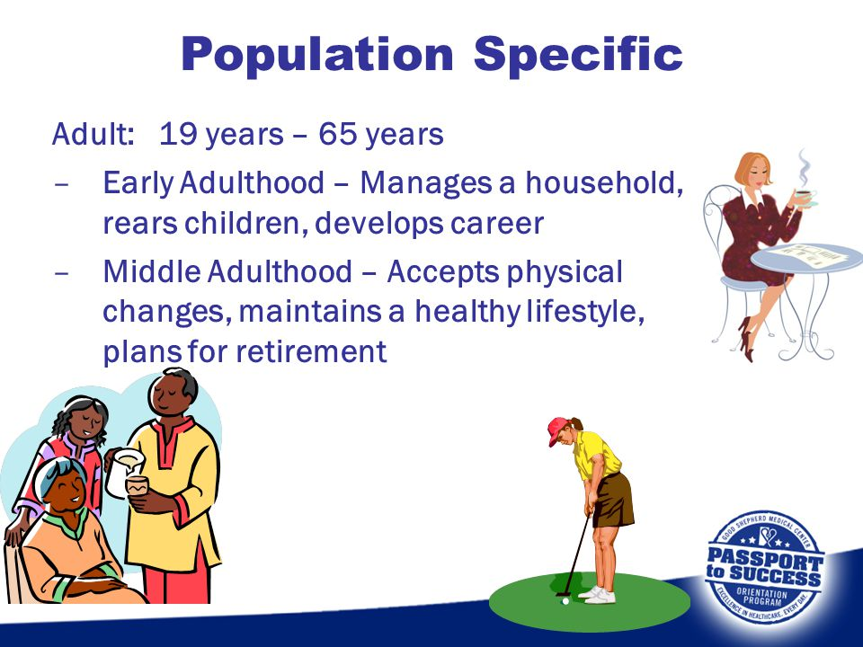 Population Specific Adult: 19 years – 65 years