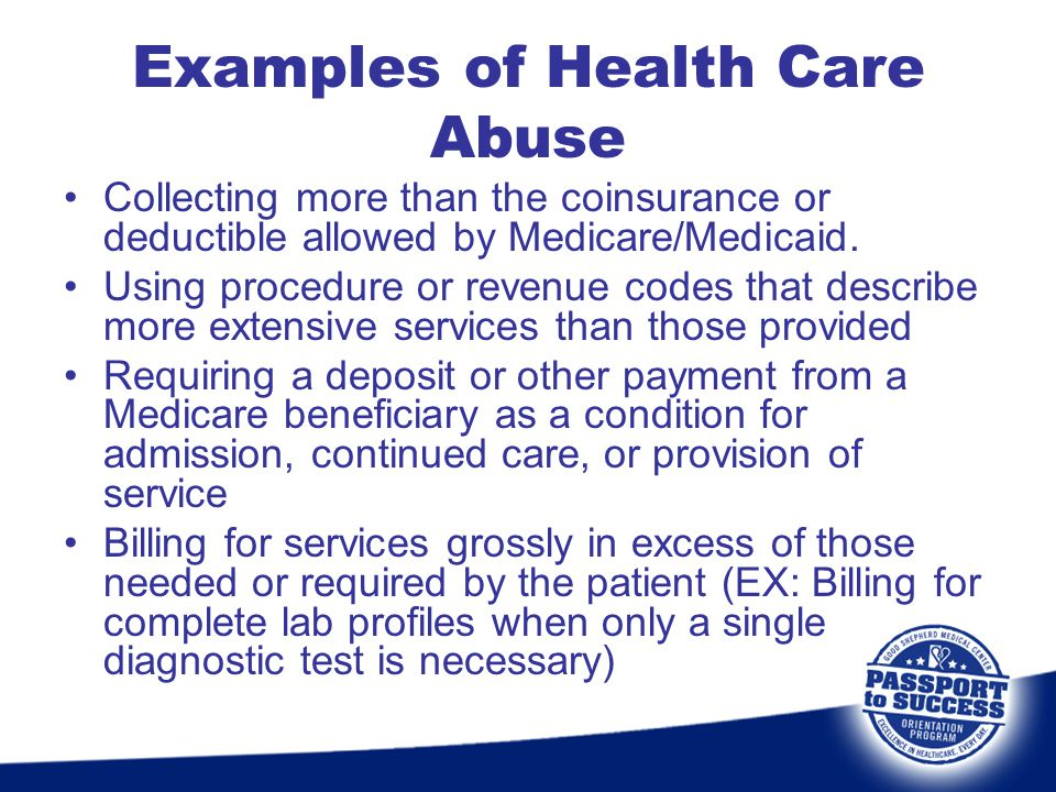 Examples of Health Care Abuse