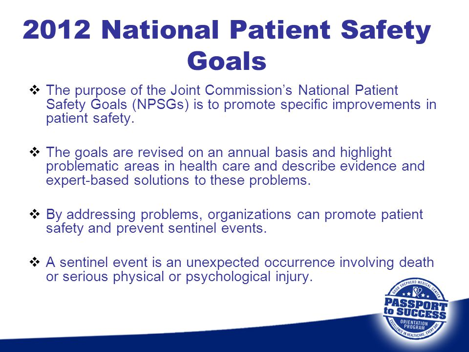 2012 National Patient Safety Goals