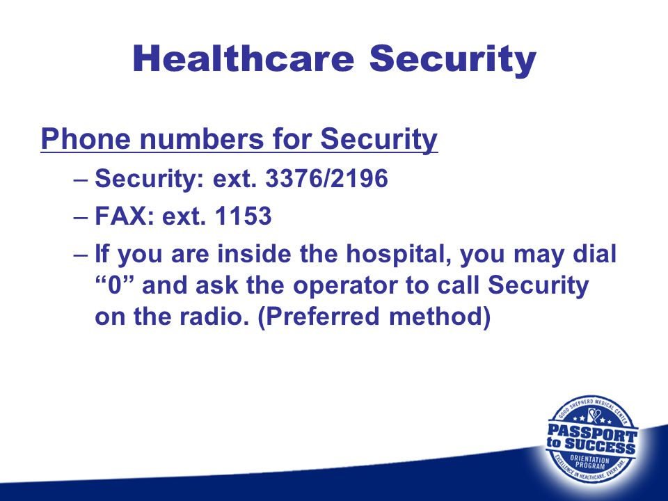 Healthcare Security Phone numbers for Security
