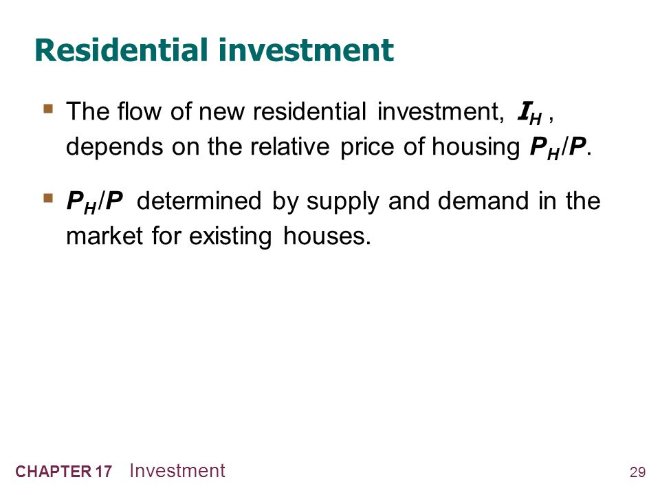 How residential investment is determined