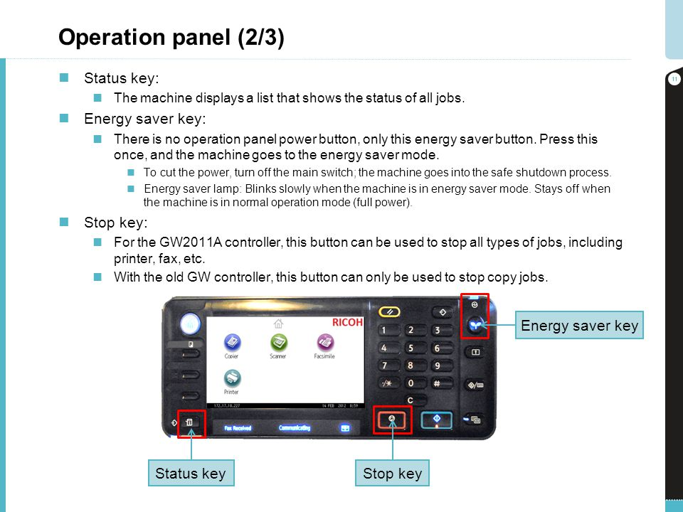 Operation panel (2/3) Status key: Energy saver key: Stop key: