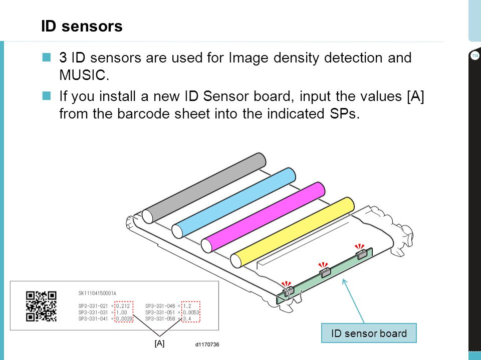 ID sensors 3 ID sensors are used for Image density detection and MUSIC.