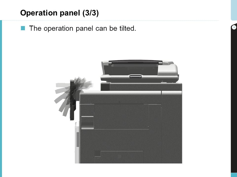 Operation panel (3/3) The operation panel can be tilted.