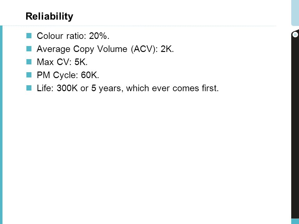 Reliability Colour ratio: 20%. Average Copy Volume (ACV): 2K.