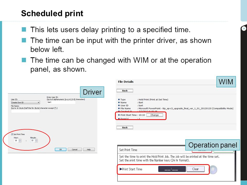 Scheduled print This lets users delay printing to a specified time.