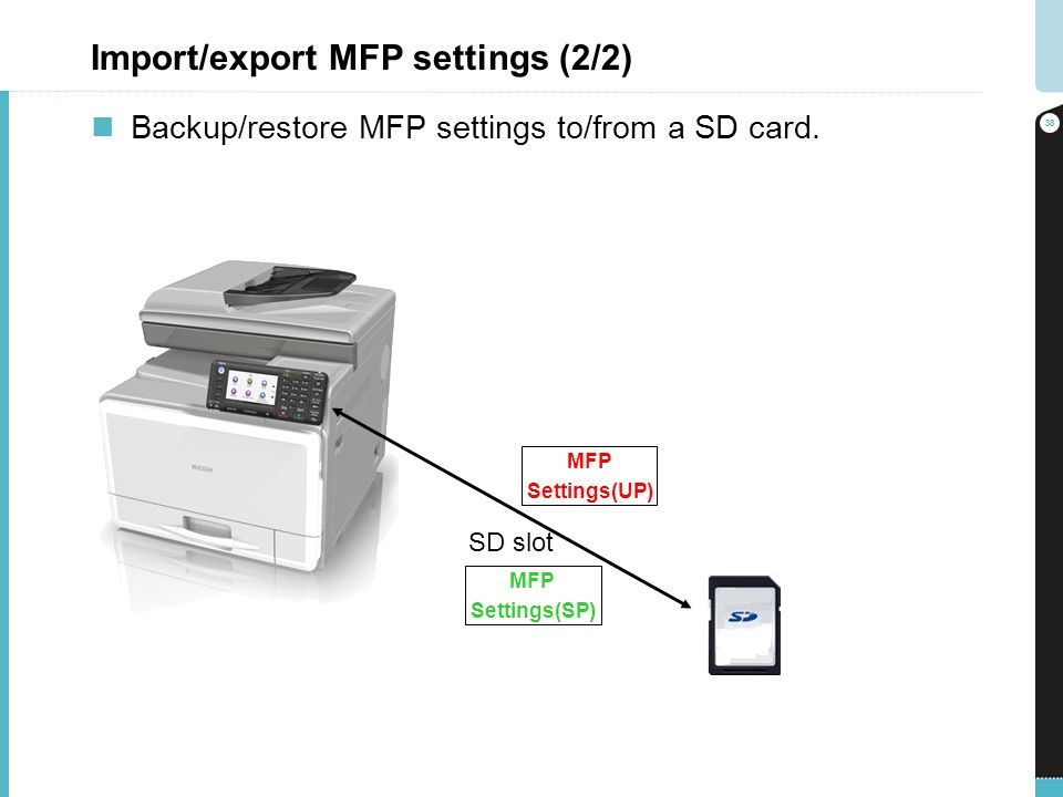 Import/export MFP settings (2/2)