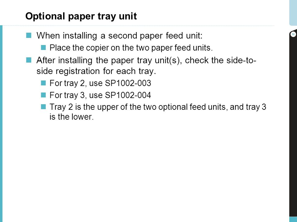 Optional paper tray unit