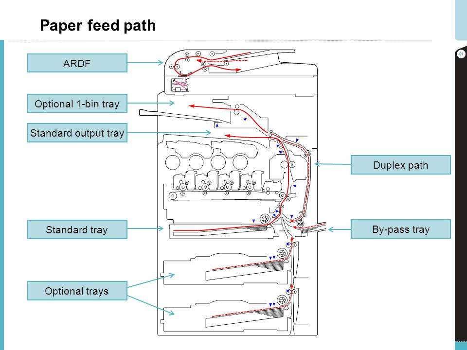 Paper feed path ARDF Optional 1-bin tray Standard output tray