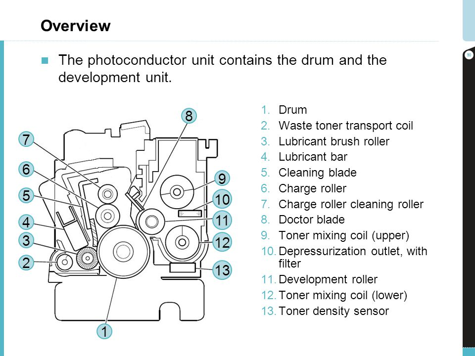 Overview The photoconductor unit contains the drum and the development unit. Drum. Waste toner transport coil.