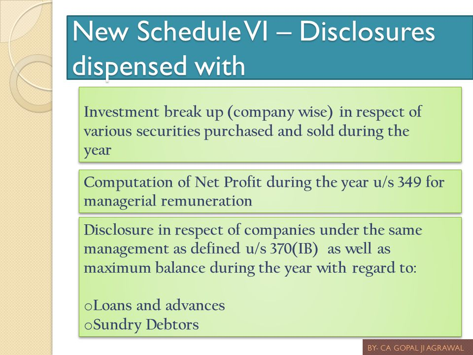 New Schedule VI – Disclosures dispensed with