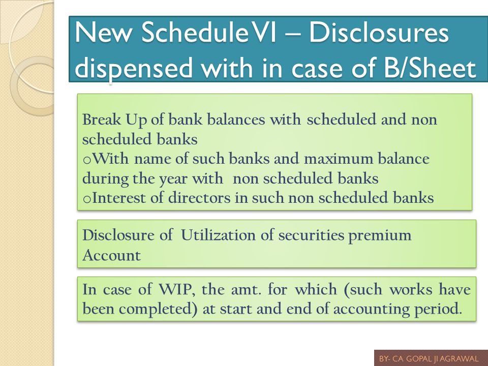 New Schedule VI – Disclosures dispensed with in case of B/Sheet