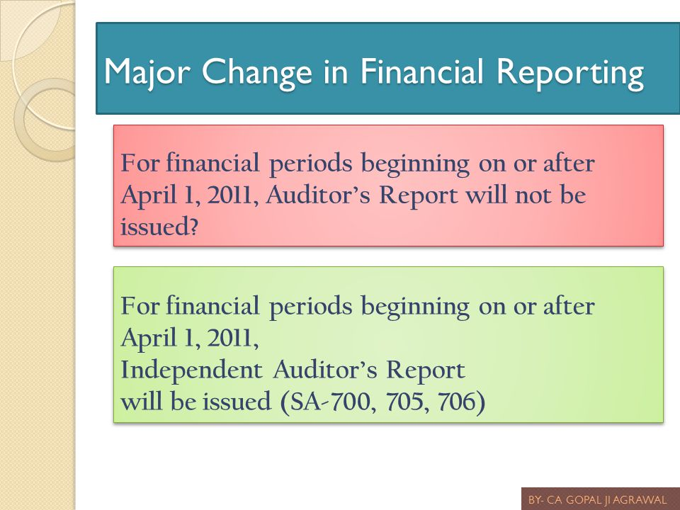 Major Change in Financial Reporting