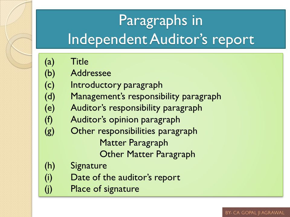 Paragraphs in Independent Auditor's report