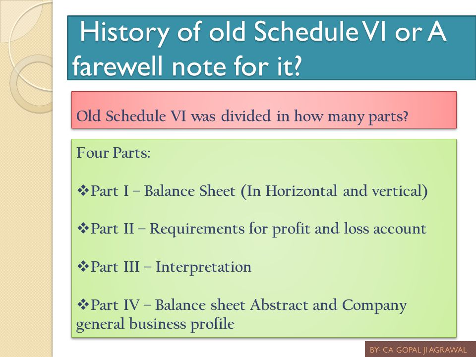 History of old Schedule VI or A farewell note for it