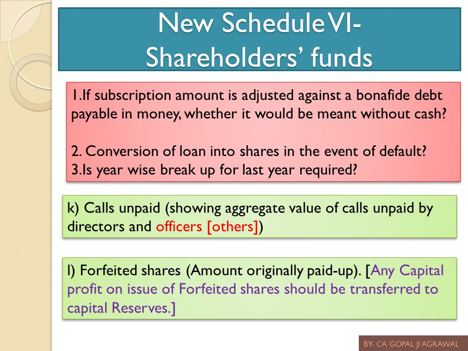 New Schedule VI- Shareholders' funds